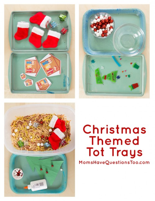 Christmas Tot School Trays - Moms Have Questions Too