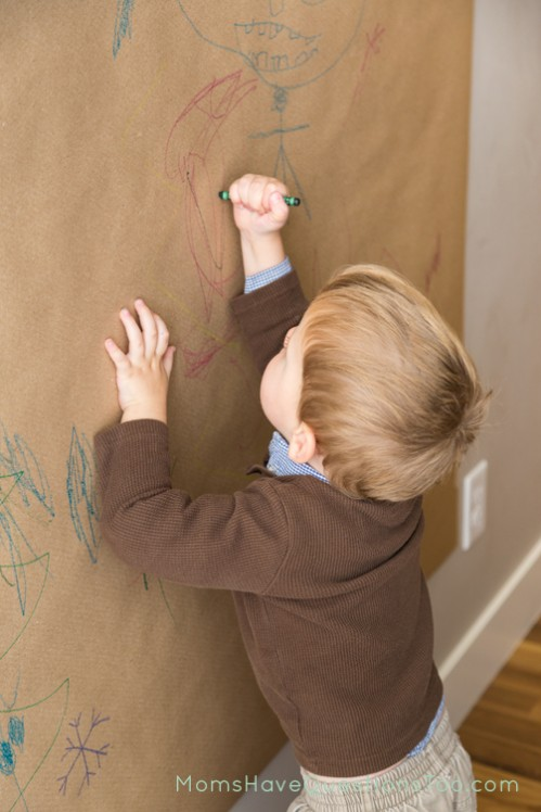 Use crayons to color on a vertical surface wall mural - Moms Have Questions Too