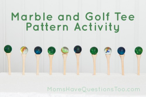 Colored Marbles on Golf Tees to Practice Patterns - Moms Have Questions Too