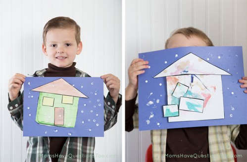 Finished Paint Cut and Paste Winter House Craft - Moms Have Questions Too