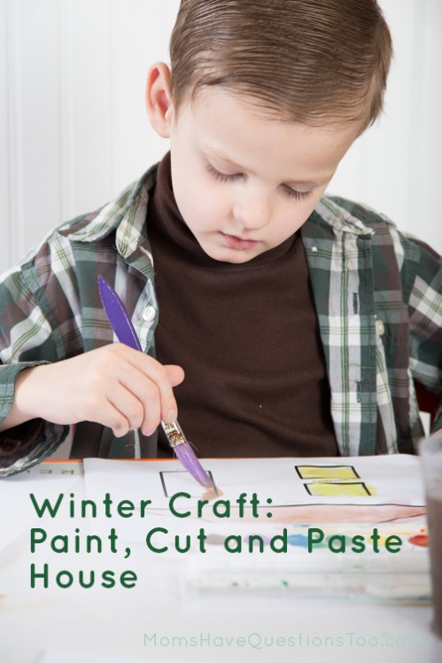 Painting the door for a watercolor cut and paste winter craft - Moms Have Questions Too