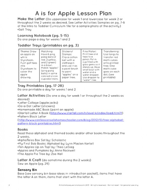 Sample Lesson Plan from Moms Have Questions Too Toddler Curriculum