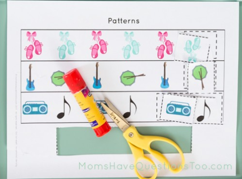 Cut and Paste Dance and Music Toddler Tray - Moms Have Questions Too