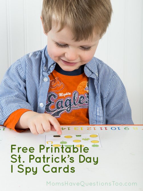 Free printable I Spy Cards for St Patrick's Day! Moms Have Questions Too
