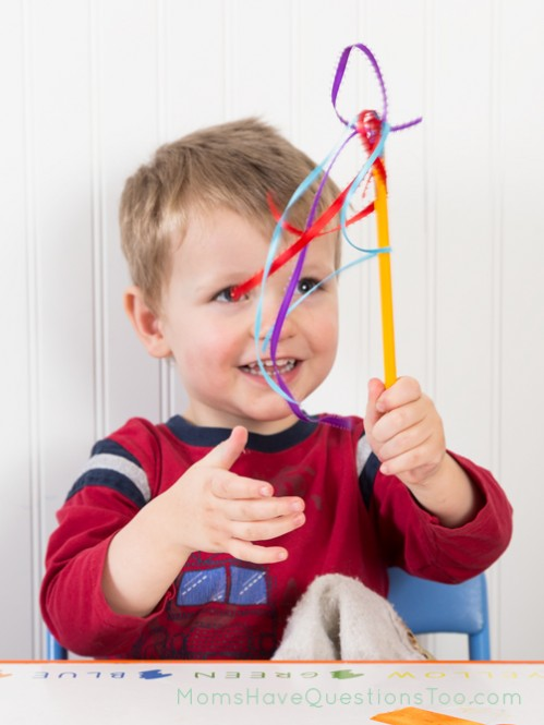 Make a twirly baton as part of the D is for Dance Toddler Curriculum - Moms Have Questions Too