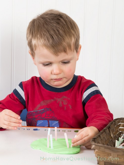 Make the letter C with play dough and straws - Moms Have Questions Too