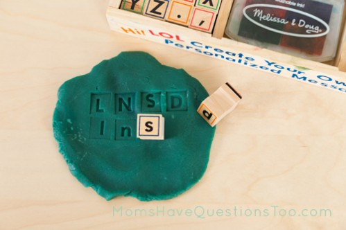 Match uppercase and lowercase letters with rubber alphabet stamps - Moms Have Questions Too