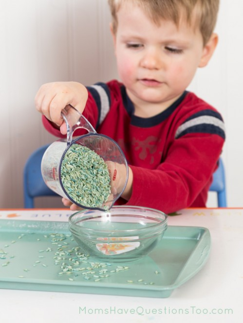 Pouring Rice Toddler Tray Idea - Moms Have Questions Too