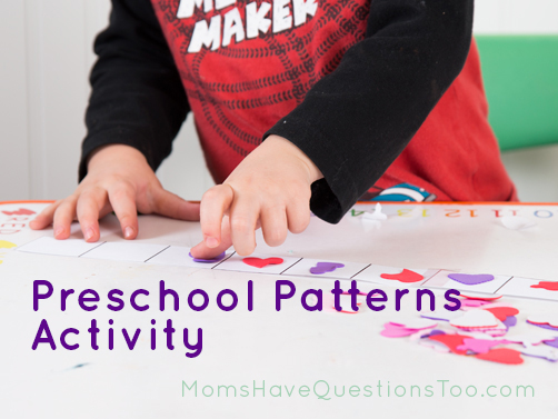 Do this fun pattern activity using seasonal stickers or even seasonal candy. Great way to use up that extra Valentine's Day candy! Printable included for the pattern strips.