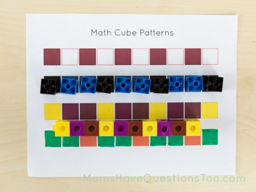 Sample of math cube patterns free printable - Moms Have Questions Too