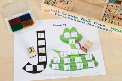 Stamping pages with Melissa and Doug alphabet stamps - Moms Have Questions Too