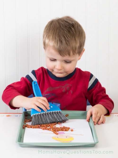 Sweeping colored pasta tot tray - Moms Have Questions Too