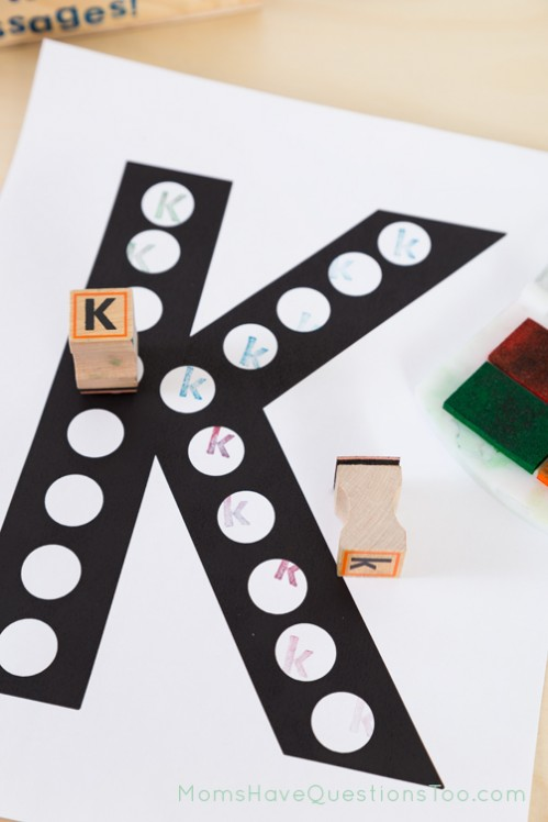 Use alphabet stamps in do a dot letter pages - Moms Have Questions Too