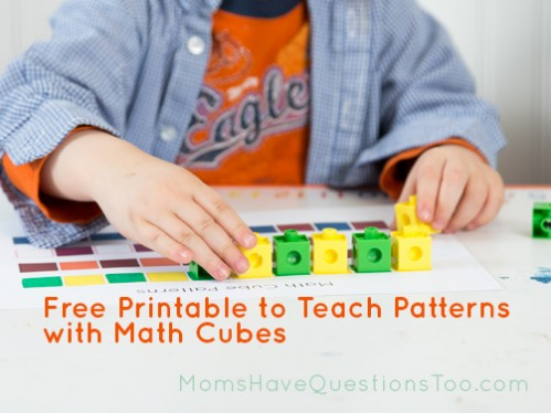 Use this free printable with math cubes to make patterns. Teaches math skills and fine motor skills! Moms Have Questions Too