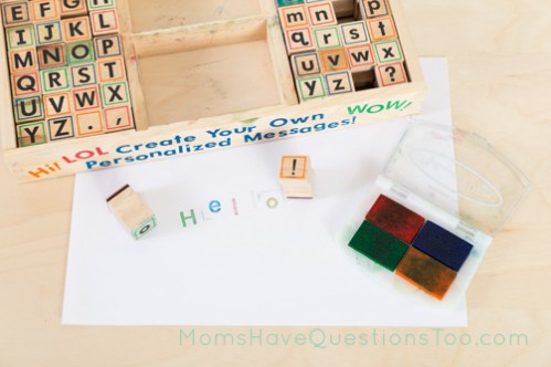Write a message with alphabet stamps - Moms Have Questions Too
