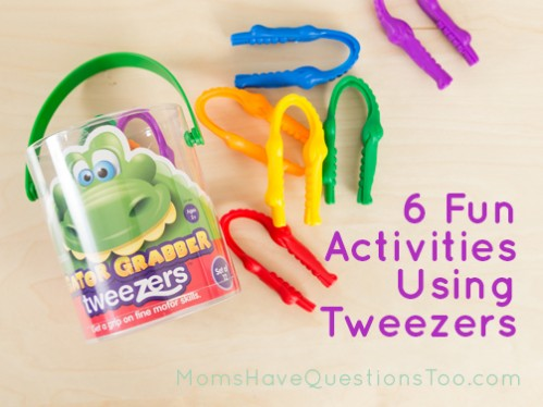6 Fun Activities that use kid tweezers - Great for fine motor growth and development! Moms Have Questions Too