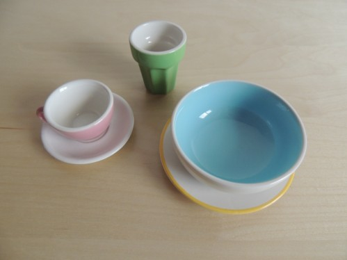 Teach care of objects with ceramic cups and bowls