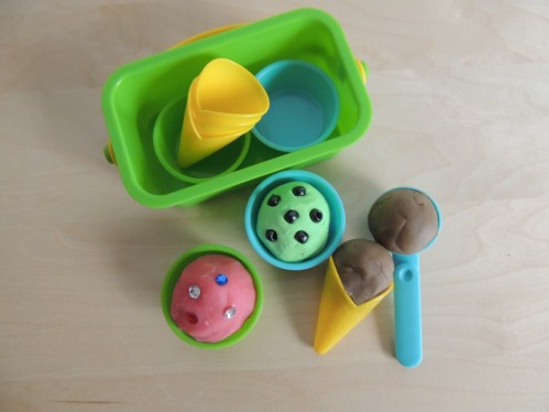 "Have fun with playdough by making ""ice cream."" Add plastic jewels for sprinkles and beads for chocolate chips."