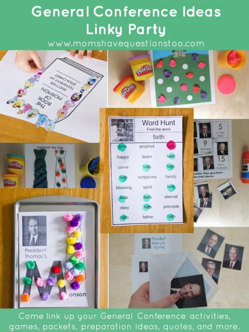 General Conference Ideas Linky Party - Come link up your General Conference ideas or check out all the great activities.