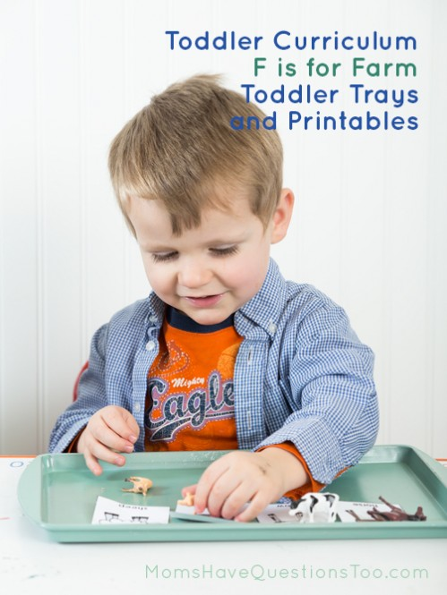 Learn the letter F with these fun preschool learning ideas - Tot trays, printables, book list and more for an F is for farm theme - Moms Have Questions Too