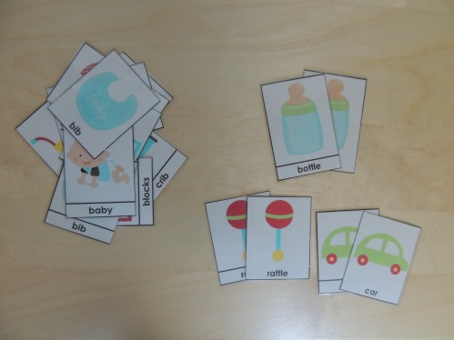 Use Montessori 3 Part Cards for matching games or memory.