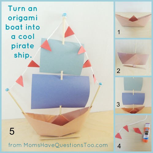 This awesome pirate ship craft only needs construction paper, yarn, beads, and 2 skewers. Add contact paper so it can float in water. Directions for origami boat is in the post.
