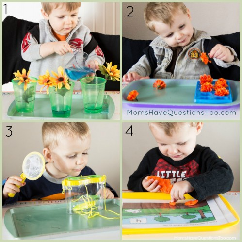 Spring tot tray ideas, plus 7 more easy spring crafts and activities. Great for toddlers and preschoolers. Ideas for tot trays, learning activities, crafts, and more.