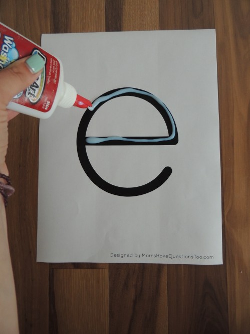 Use this preschool alphabet printables for glue tracing and more!