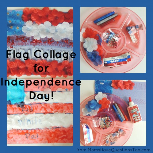 Have your kids make a flag collage for the Independence day! You only need construction paper, glue, and a bunch of red, white, and blue items.