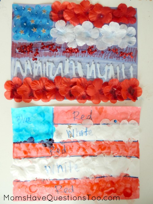 Use red, white, and blue items for this fun flag craft that's perfect for Independence day!