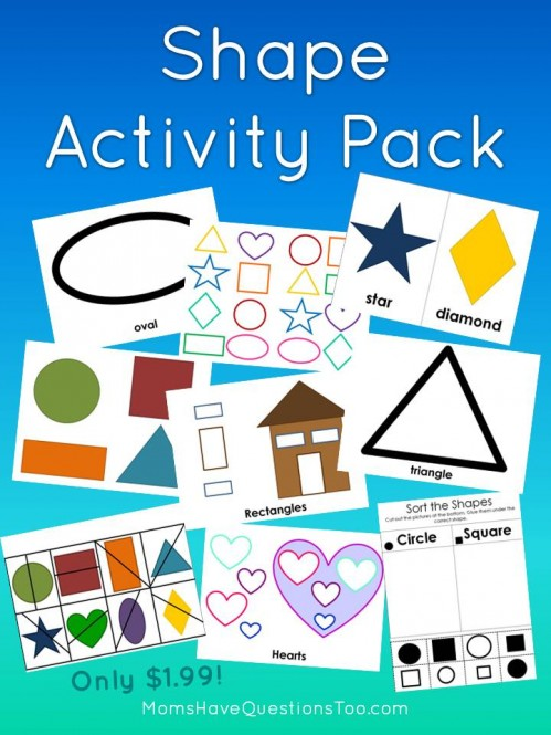 Buy this Shape Activity Pack for only $1.99! Includes 12 activities to teach shapes which are perfect for toddlers and preschoolers.