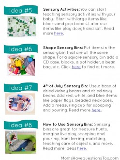 Read about the Importance of Sensory Bins, then download this free pdf with 8 Sensory Bin Ideas.