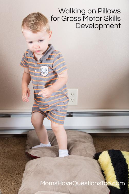 Walk on pillows for gross motor development for Gross motor toddler activities