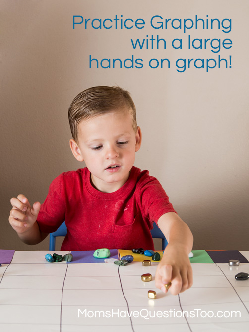 Graphing rocks on a large posterboard graph - Moms Have Questions Too