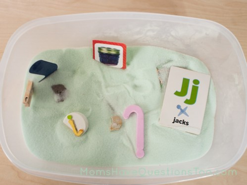 J sensory bin. J is for Jungle Toddler School. Tons of great ideas to teach the letter J, plus beading, sorting,and more!
