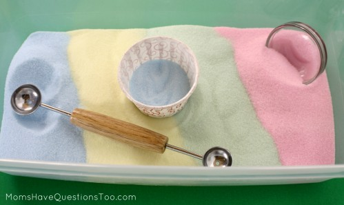Colored salt is a cheap alternative to craft sand. It's a great texture, pretty, and only needs two ingredients!