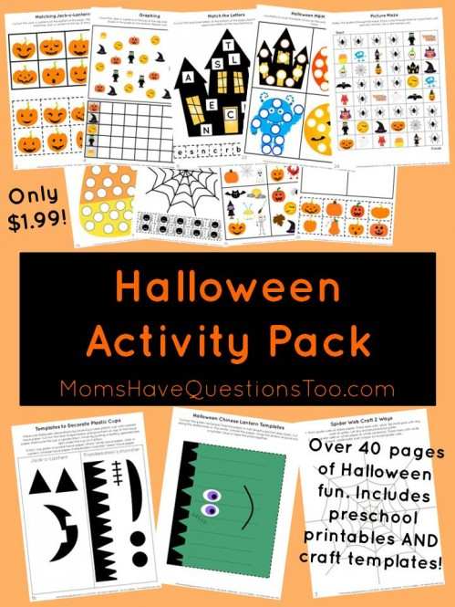 This awesome Halloween Activity Pack has tons of preschool printables and some printable craft templates. Perfect for toddlers and preschoolers.