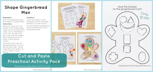 Get this Cut and Paste Preschool Activity Pack for only $1.99! Great for fine motor skills!