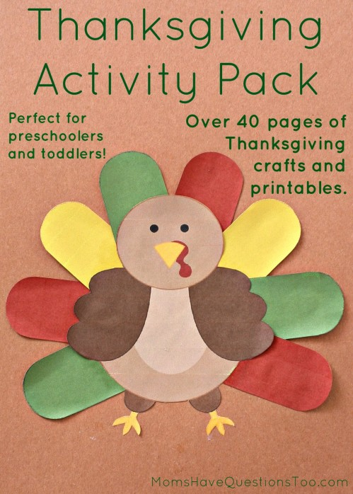Thanksgiving Activity Pack with over 40 pages of crafts and printables for toddlers and preschoolers!