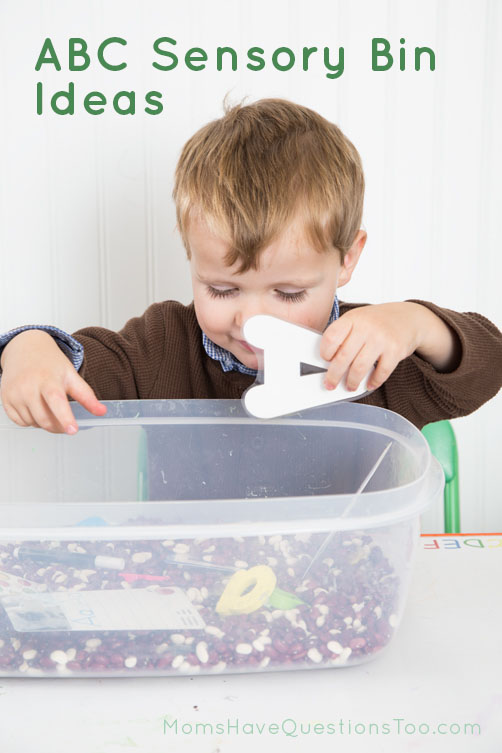 Fun ideas to make an ABC Sensory Bin - Moms Have Questions Too