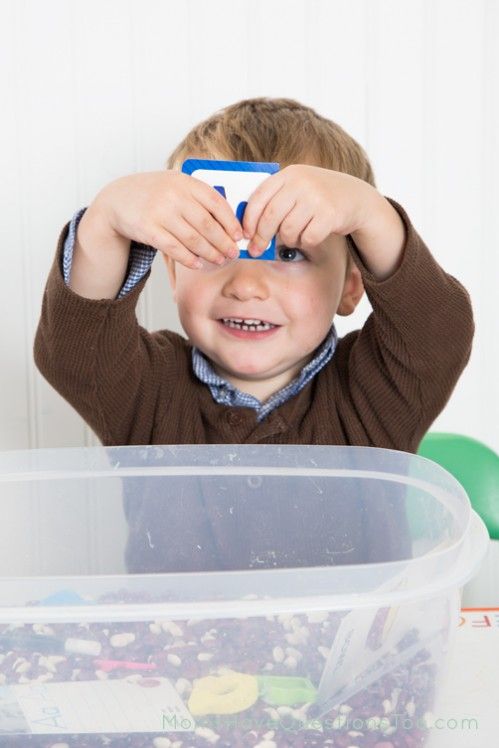 Use Sensory Bins to Expose Your Child to the Alphabet - Moms Have Questions Too