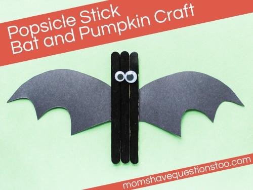 Popsicle Stick Pumpkin and Bat Craft